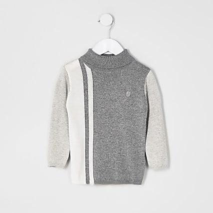 Mini boys grey blocked roll neck jumper