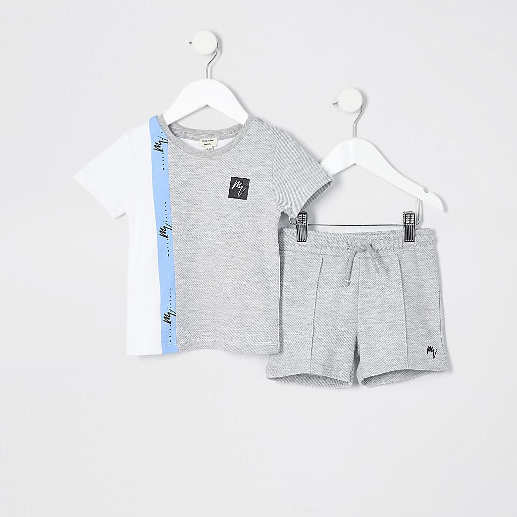 Mini boys grey blocked t-shirt outfit