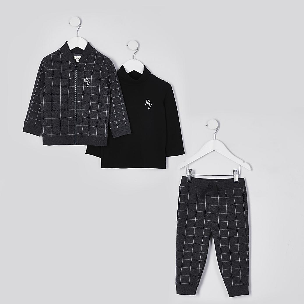 Mini boys grey bomber jacket 3 piece outfit