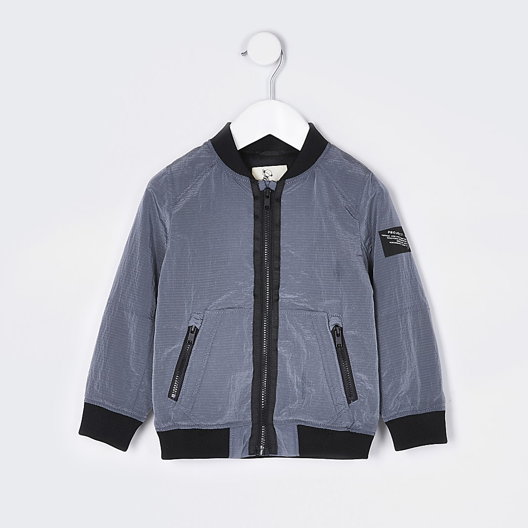 Mini boys grey bomber jacket