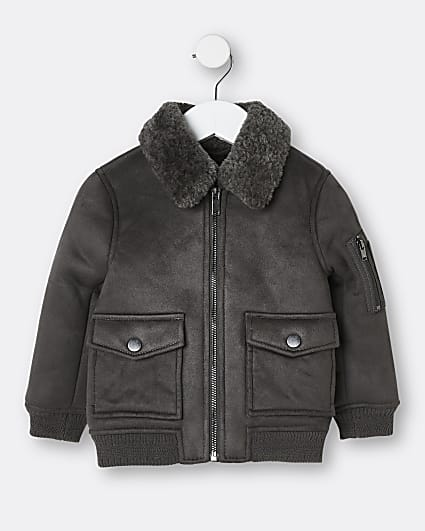 Mini boys grey borg collar jacket