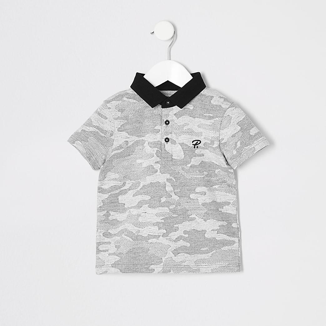 Mini - Grijze  polo met camouflageprint voor jongens