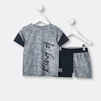Mini boys grey camo print pyjamas set