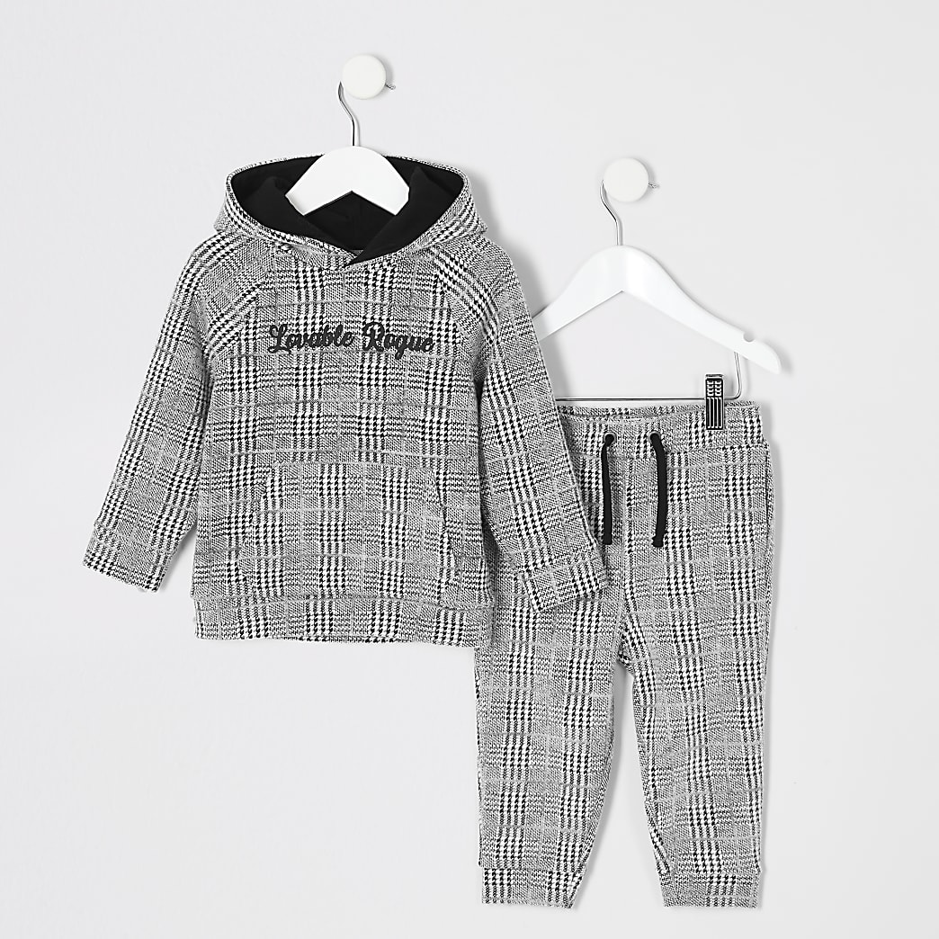 Mini boys grey check hoodie outfit