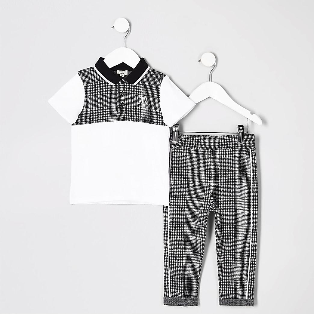 Mini - Outfit met grijs geruit poloshirt voor jongens