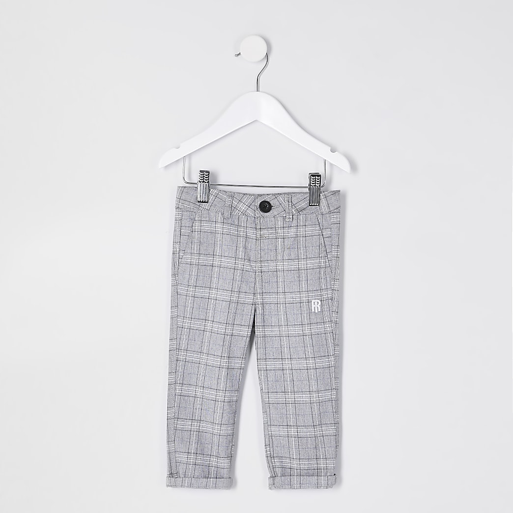Mini boys grey check print trousers