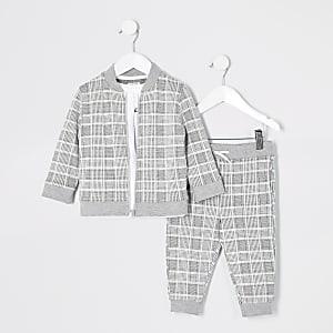 Mini –Prolific –Grau kariertes 3-Teiler-Outfit für Jungen