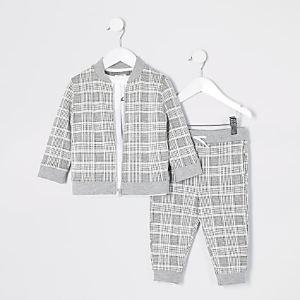 Mini boys grey check Prolific 3 piece outfit