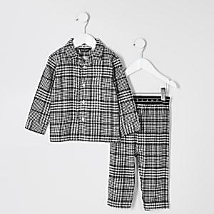 Mini - Grijze geruite pyjama met RI-borduursel voor jongens