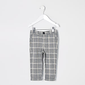 Mini - Grijze geruite nette broek voor jongens