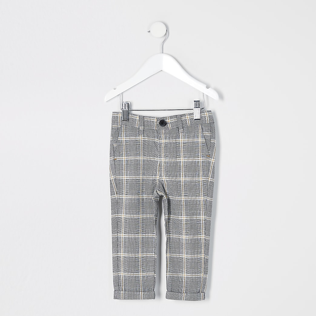Mini boys grey check smart trousers
