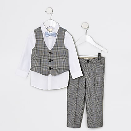 Mini boys grey check suit outfit