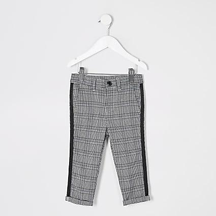 Mini boys grey check tape side trousers