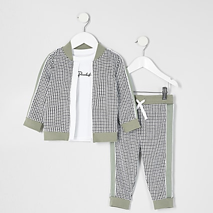 Mini boys grey checked 3 piece outfit