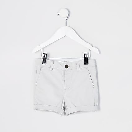 Mini boys grey chino shorts
