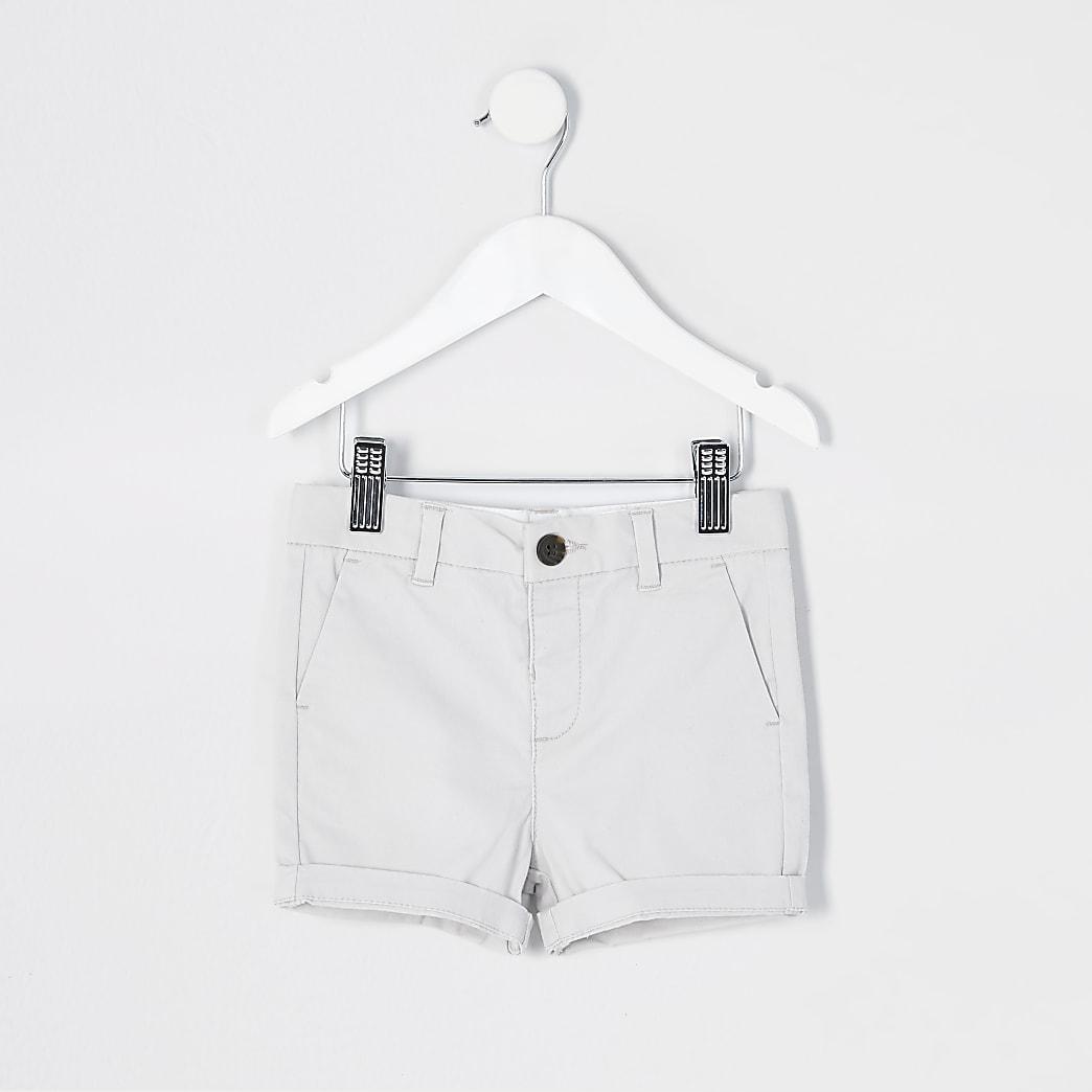 Mini boys grey chino shorts