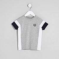 Mini boys grey colour block RI T-shirt
