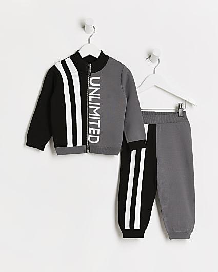 Mini boys grey colour block tracksuit set