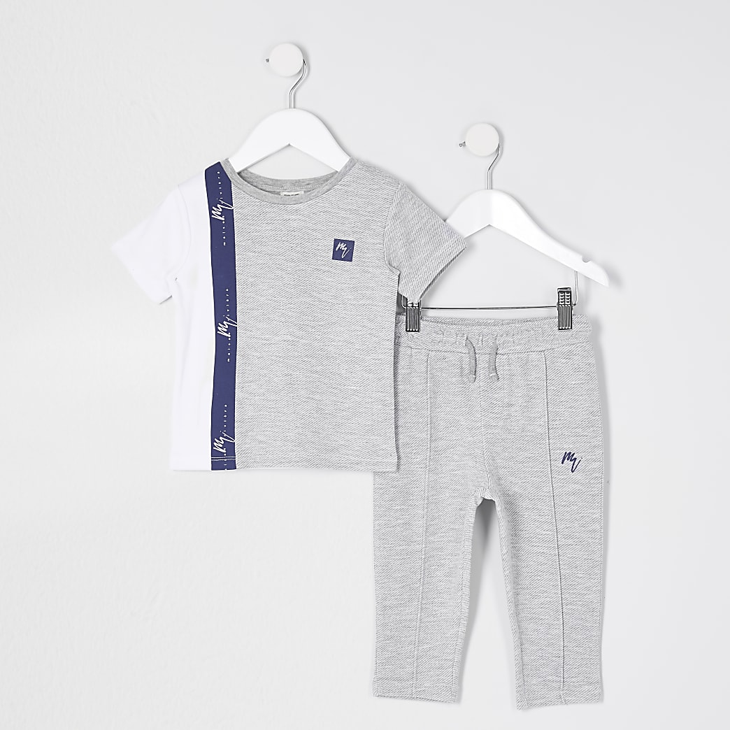 Mini boys grey colour blocked t-shirt outfit