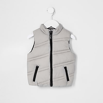 Mini boys grey diagonal padded gilet