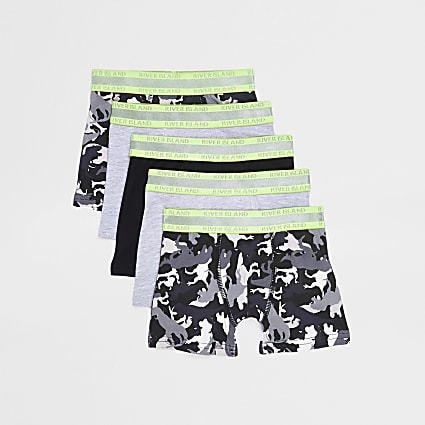 Mini boys grey dinosaur print boxer 5 pack