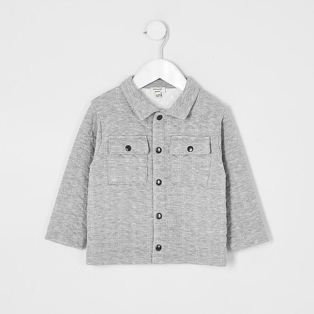 Mini boys grey embossed overshirt