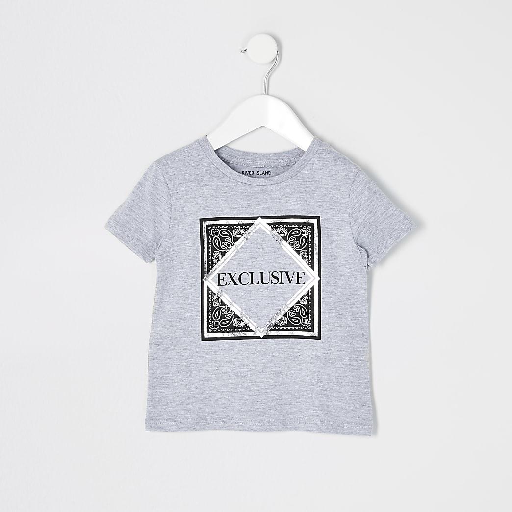 Mini - Grijs T-shirt met 'Exclusive'-tekst voor jongens