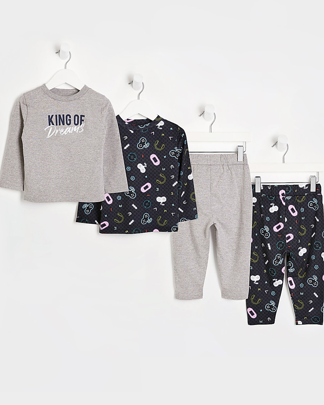 Mini boys grey gamer pyjama sets 2 pack