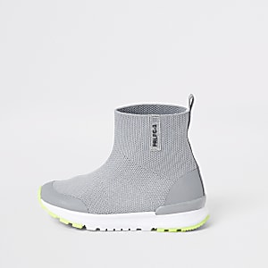 Mini boys grey high top knit trainers