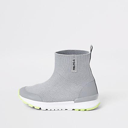 Mini boys grey high top knit trainers