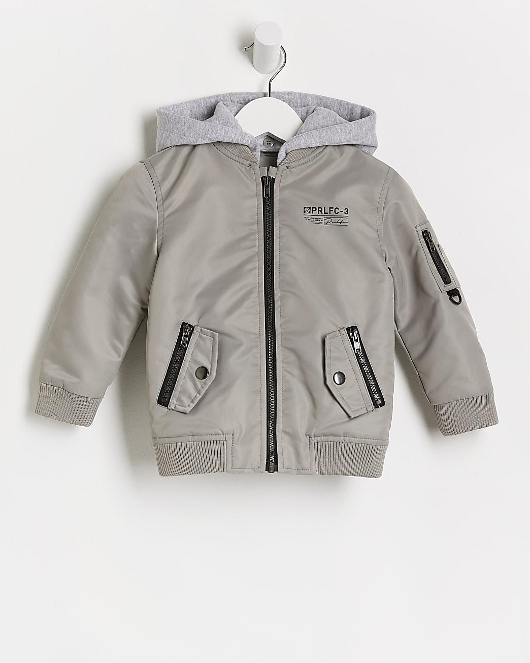 Mini boys grey hood bomber jacket