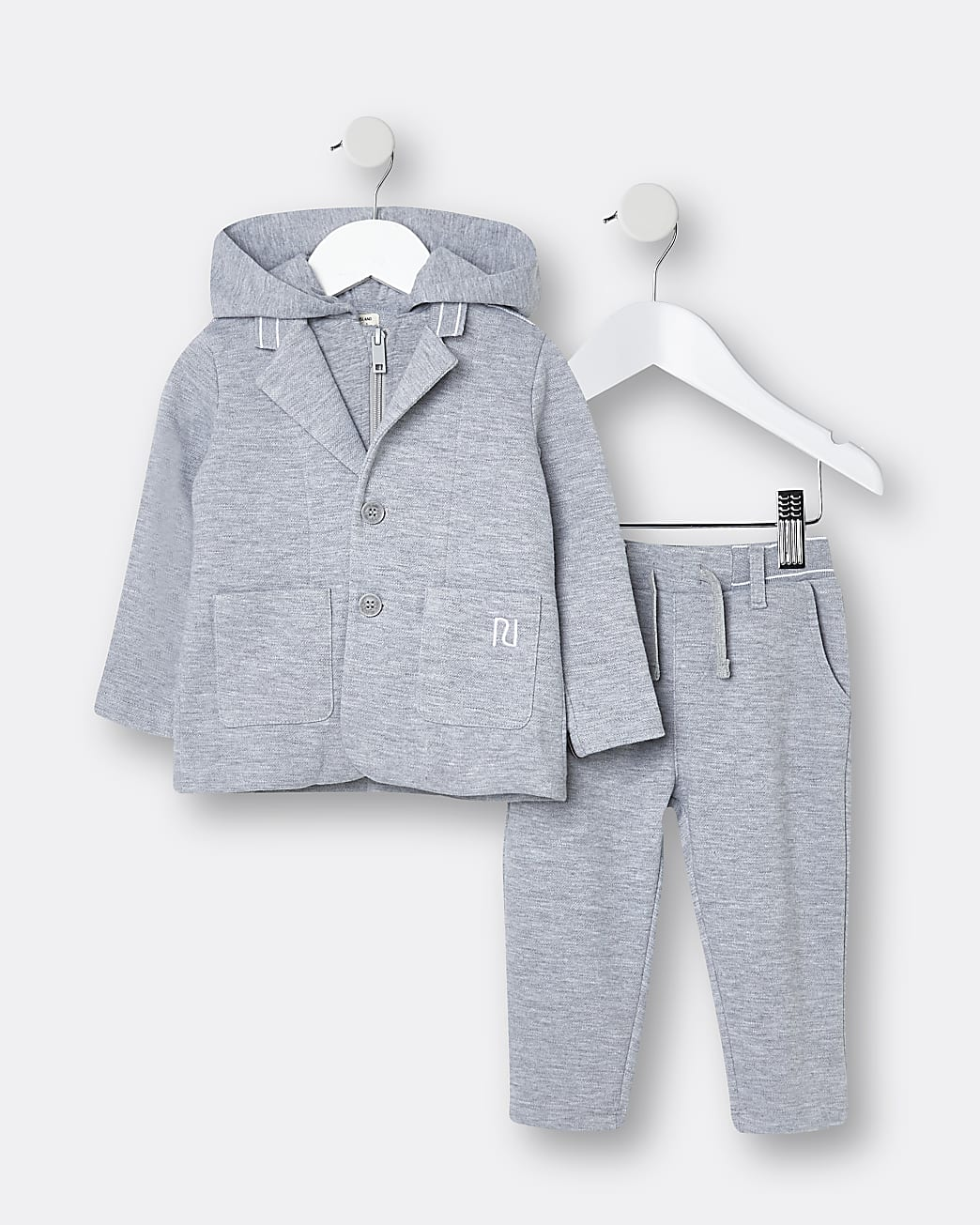 Mini boys grey hooded suit 2 piece outfit