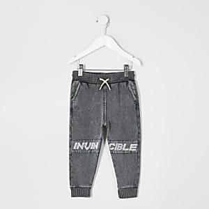 Mini boys grey 'Invincible' acid wash joggers