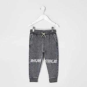 "Mini – Graue Jogginghose ""Invincible"" im Acid-Wash-Look für Jungen"