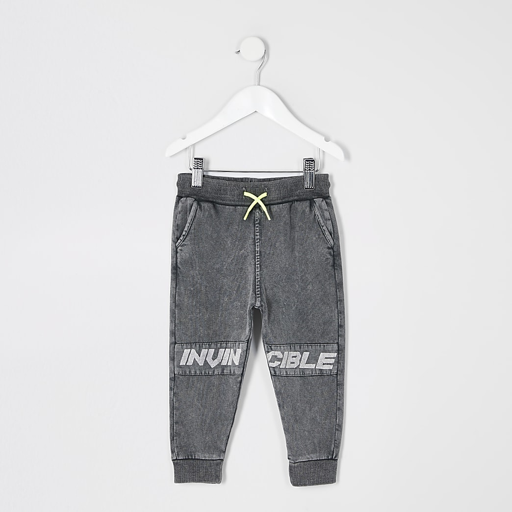 Mini boys grey 'Invincible' acid wash joggers
