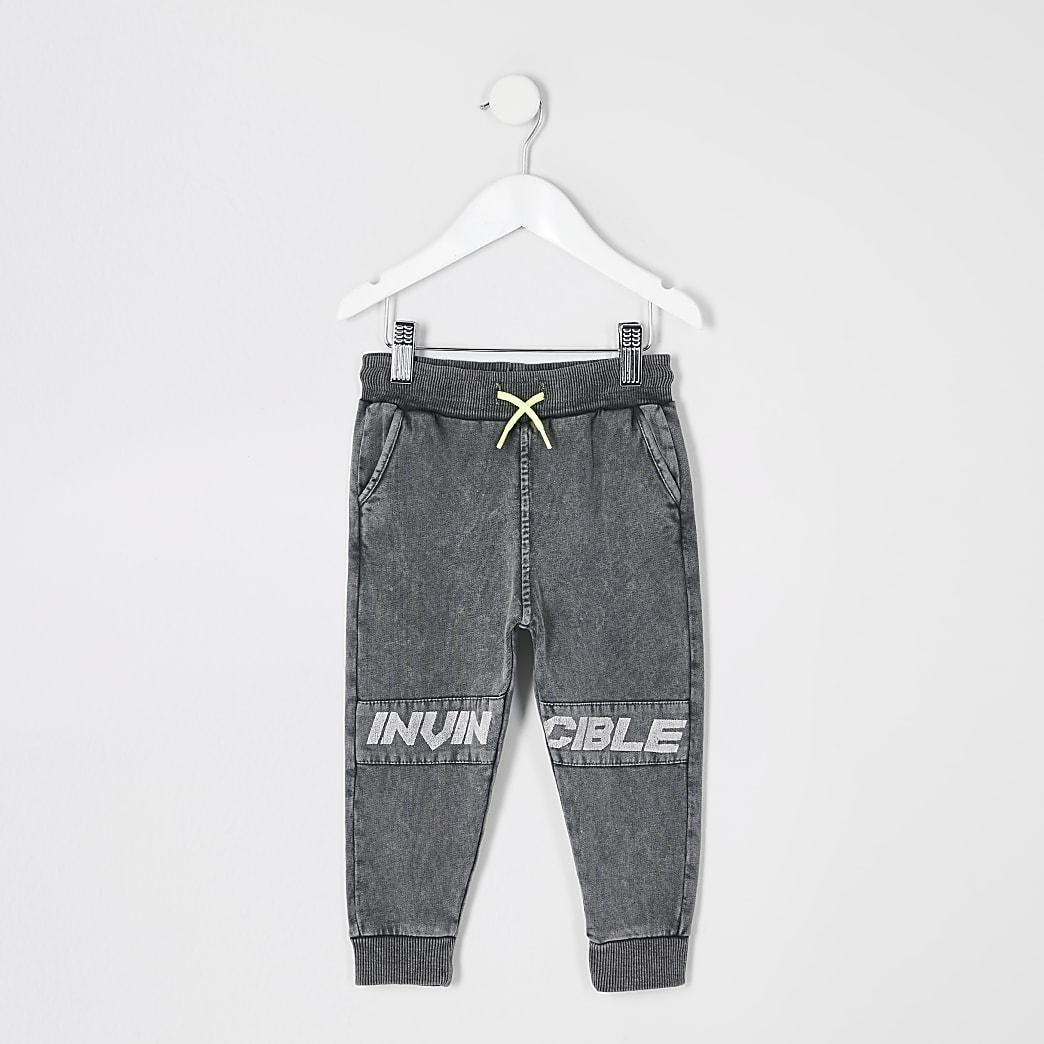 Mini - Grijze acid wash joggingbroek met 'Invincible'-tekst voor jongens
