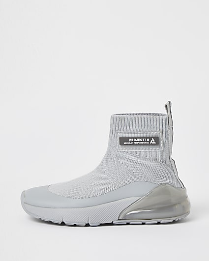 Mini boys grey knitted sock trainers