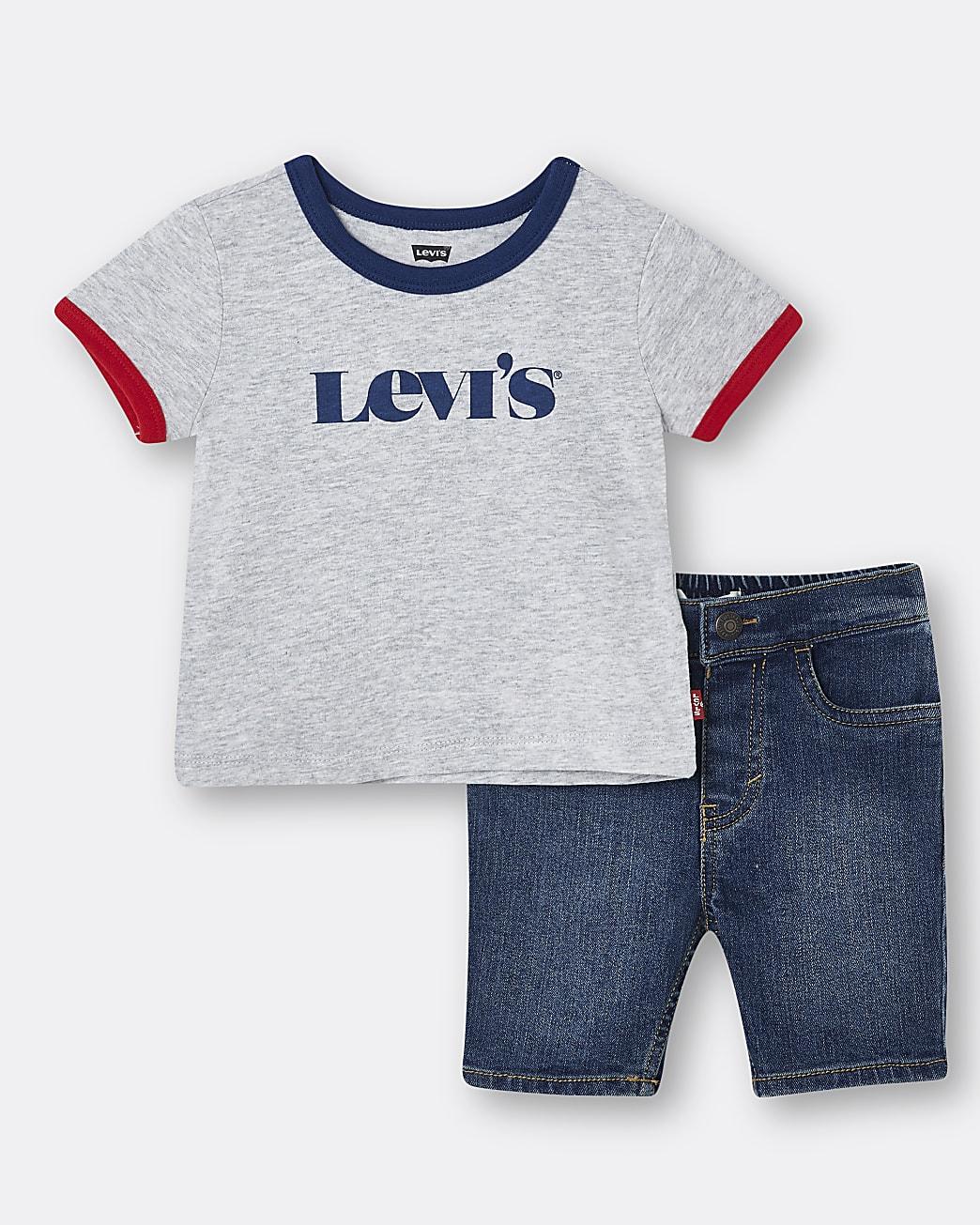 Mini boys grey Levi's denim shorts outfit