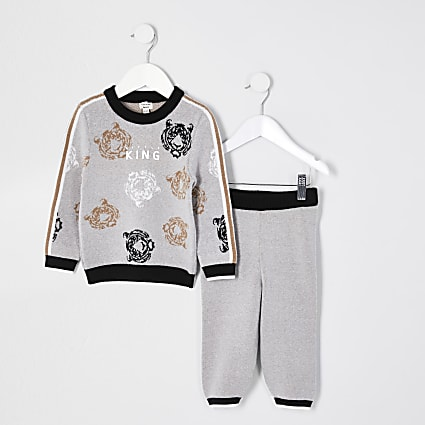 Mini boys grey 'Little king' print outfit