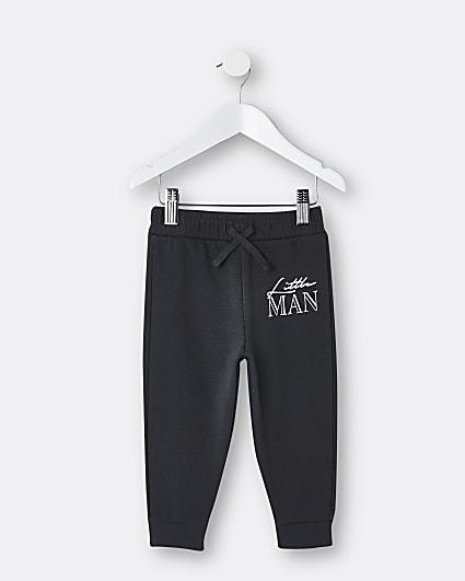Mini boys grey 'Little Man' joggers