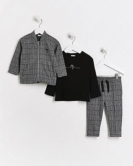 Mini boys grey Maison Riviera 3 piece outfit