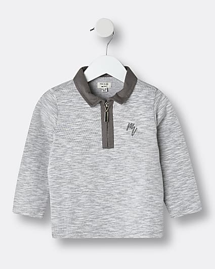 Mini boys grey Maison Riviera polo shirt