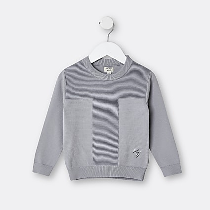 Mini boys grey Maison Riviera ribbed jumper
