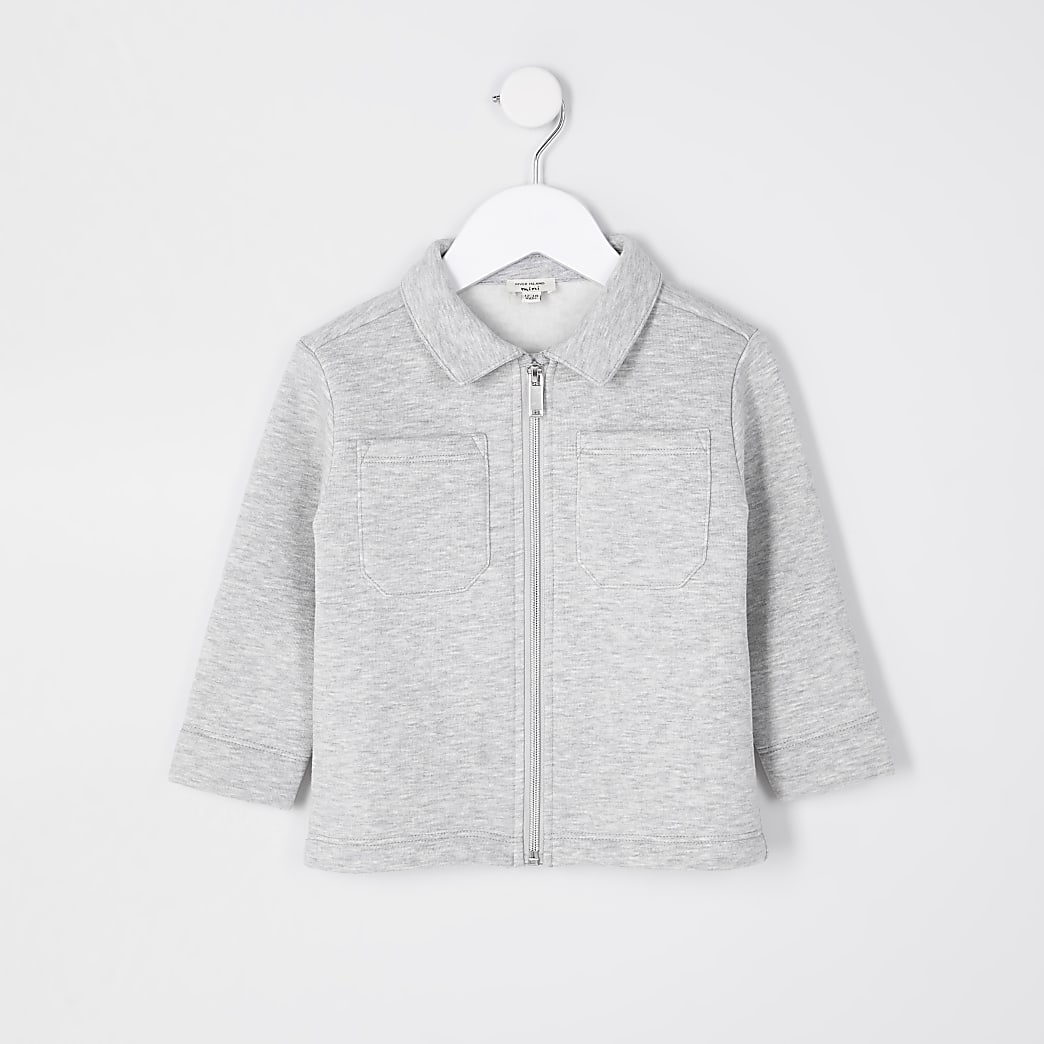 Mini boys grey marl jersey shacket