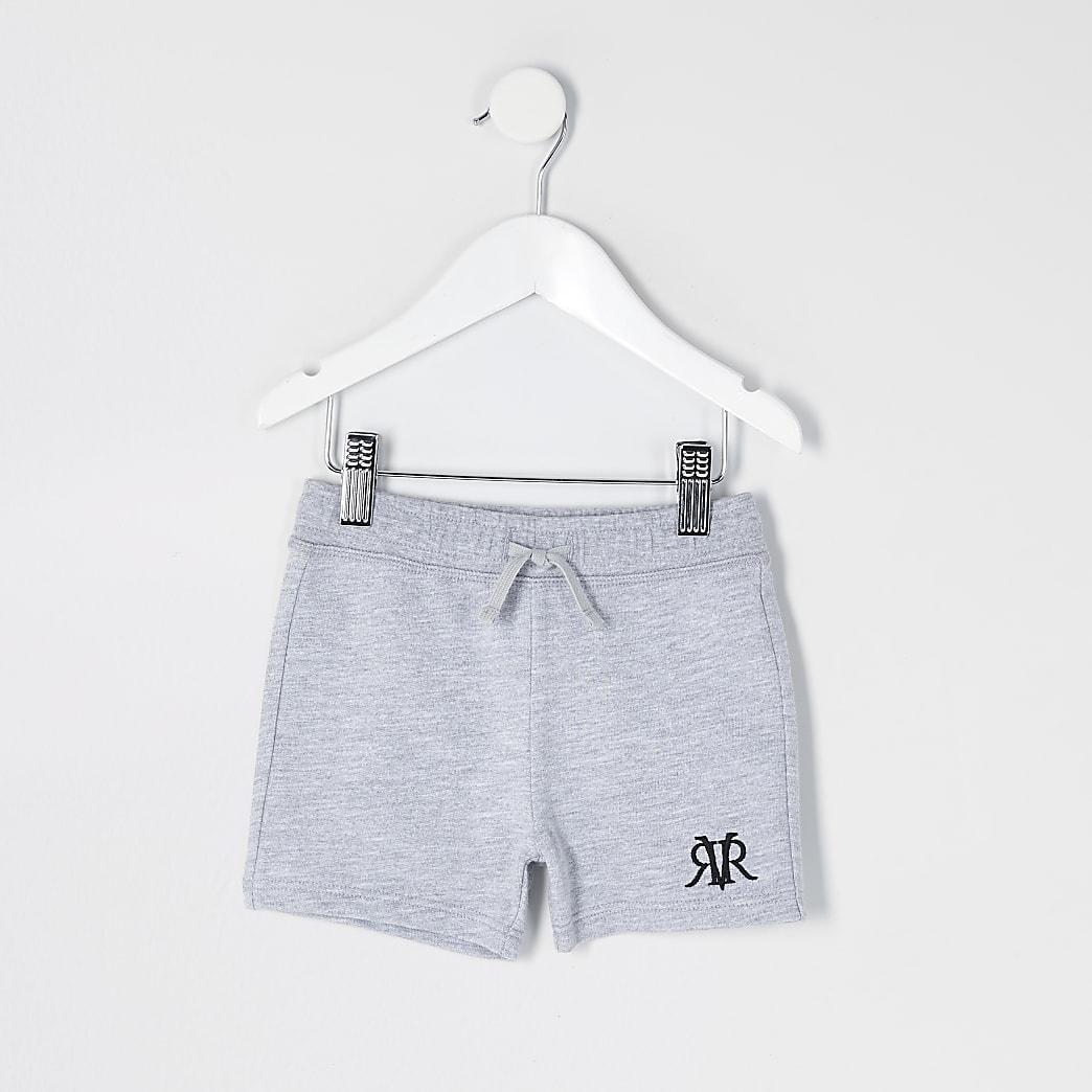 Mini - Grijze gemêleerde RVR shorts voor jongens