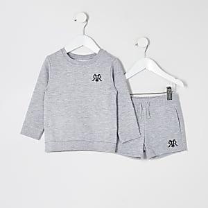 Mini – Grau meliertes RVR-Sweatshirt-Outfit für Jungen