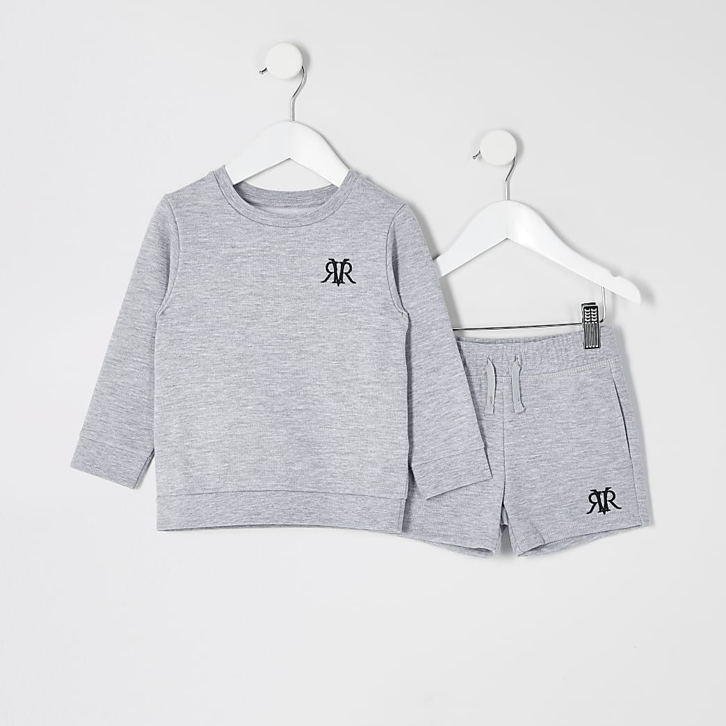 Mini boys grey marl RVR sweatshirt outfit