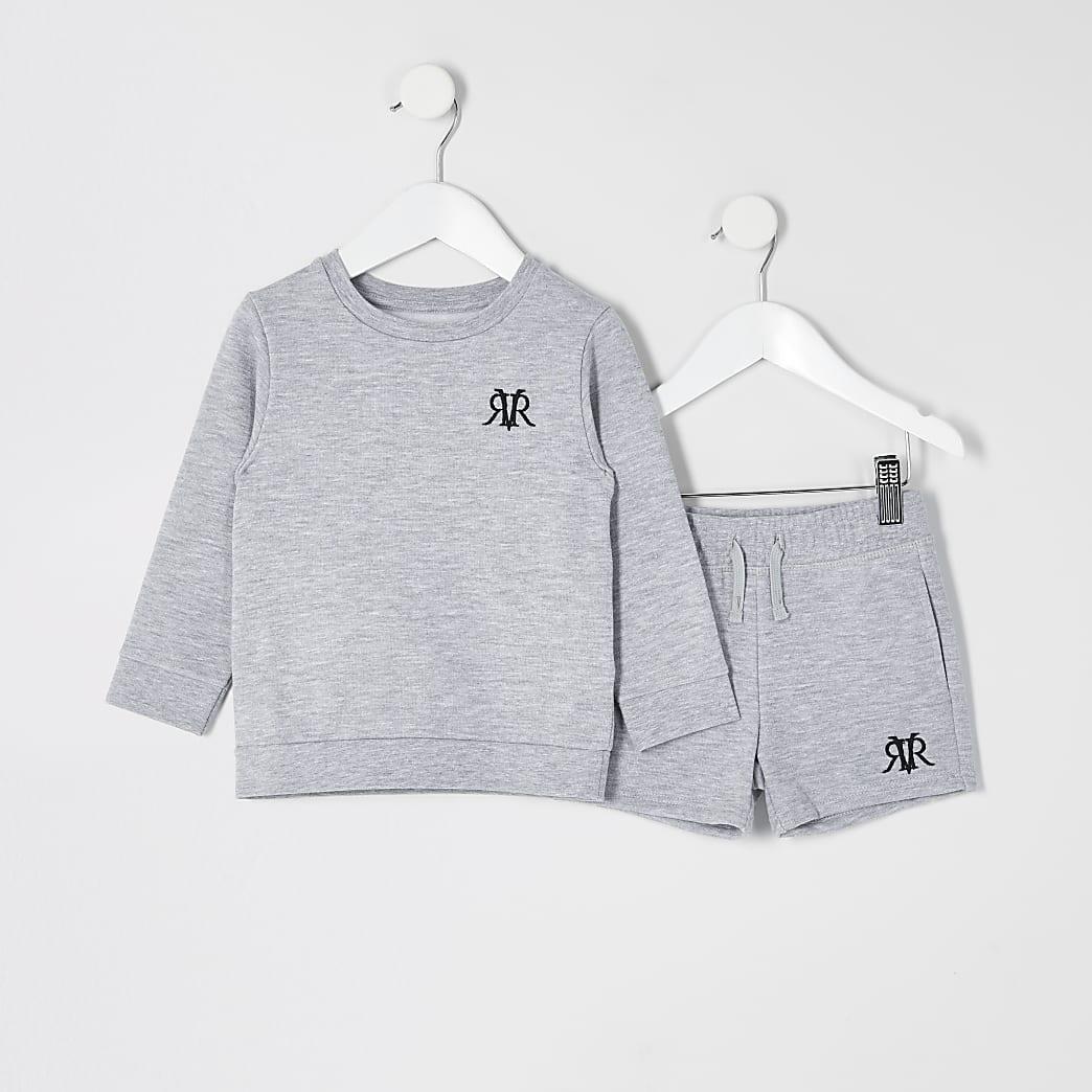 Mini - Grijze gemêleerde sweater outfit met RVR-print voor jongens