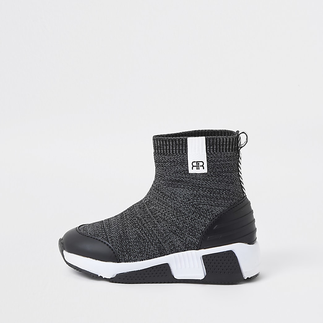 Mini boys grey marl sock hi top trainers