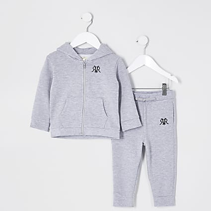 Mini Boys grey marl zip up hoodie outfit